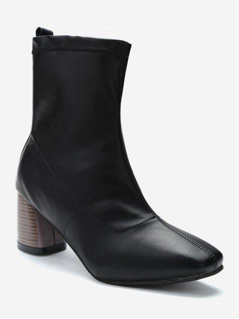 unique Chunky Heel Slip-on Short Boots - BLACK EU 38 Mobile