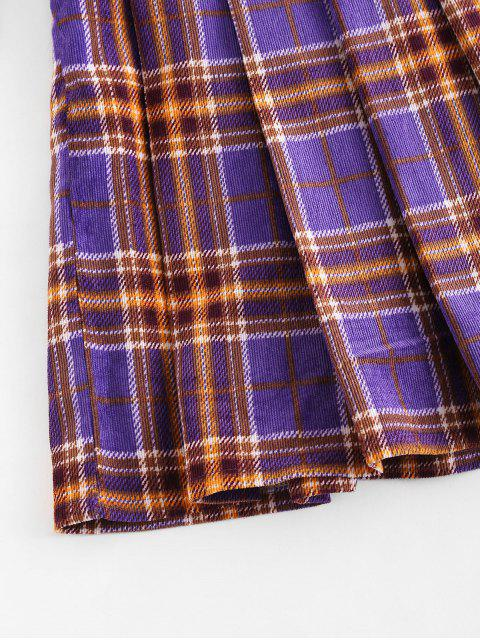 ladies ZAFUL Plaid Pleated Flare Skirt - PURPLE L Mobile