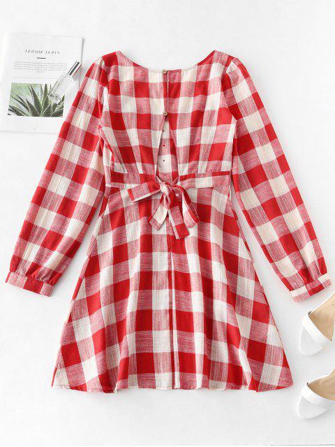 best ZAFUL A Line Plaid Tied Back Dress - MULTI M Mobile