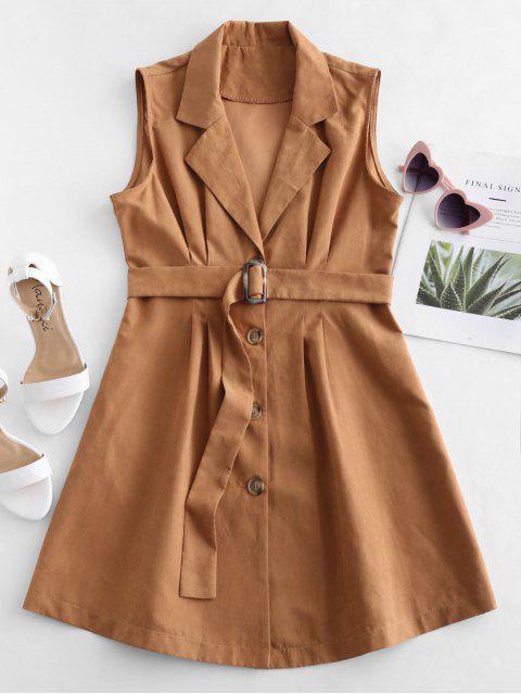 womens Sleeveless Blazer Dress - CARAMEL M Mobile