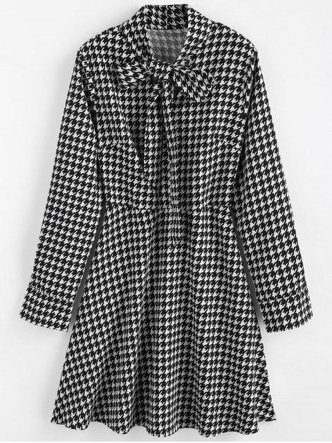 lady Bow Collar Houndstooth Dress - MULTI L Mobile
