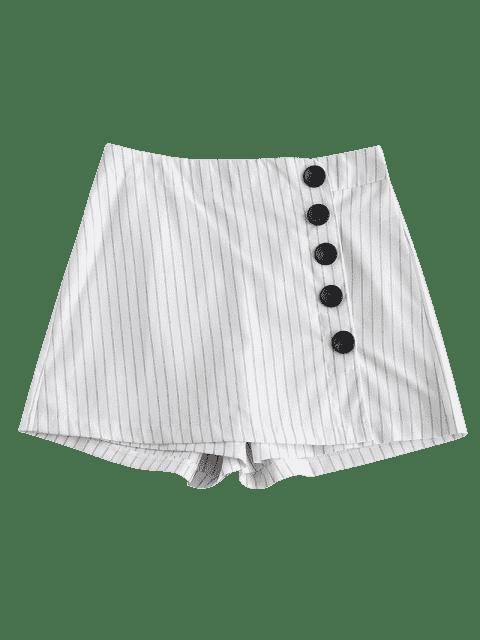 Jupe Boutonnée Rayée - Blanc L Mobile