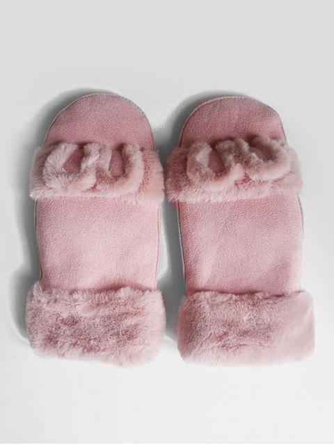 womens Winter Solid Color Fuzzy Mitten Gloves - LIGHT PINK  Mobile