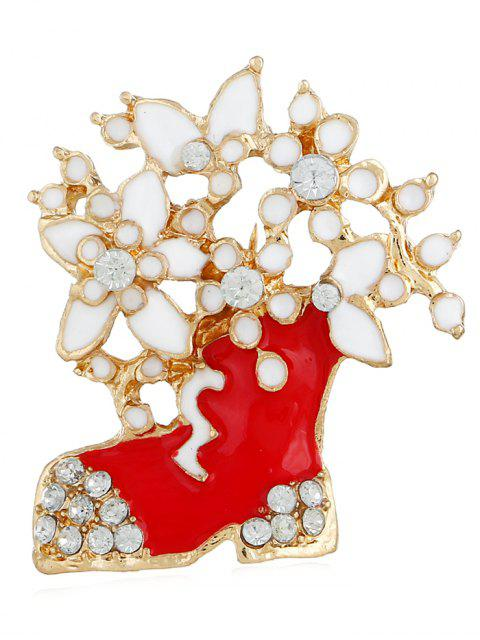 outfits Rhinestone Floral Boots Christmas Brooch - GOLD  Mobile