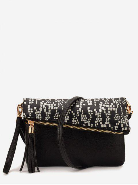 hot Printed Tassel Crossbody Bag - WHITE  Mobile