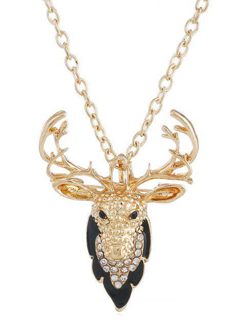 shop Christmas Elk Rhinestone Pendant Necklace - GOLD  Mobile