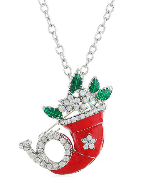 trendy Christmas Rhinestone Horn Party Necklace - SILVER  Mobile
