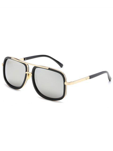 fashion Vintage Metal Frame Crossbar Sunglasses - SILVER  Mobile