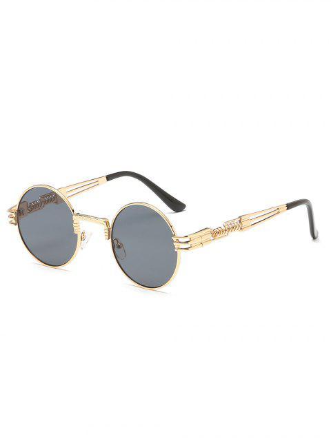 new Vintage Metal Frame Flat Lens Round Sunglasses - GOLD  Mobile