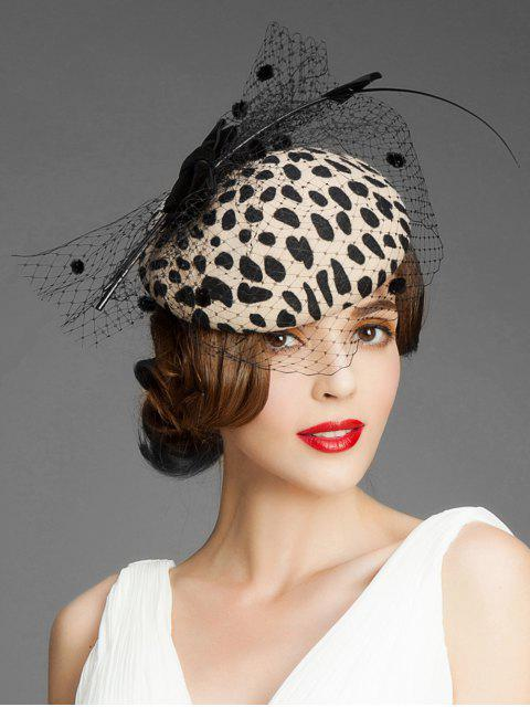 trendy Bowknot Leopard Mesh British Hat - LEOPARD  Mobile