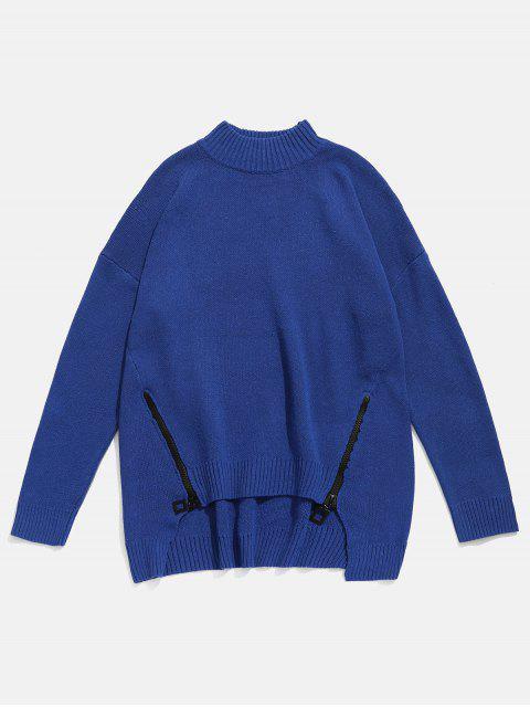 fashion Zipper Embellished High Low Hem Sweater - CADETBLUE 4XL Mobile