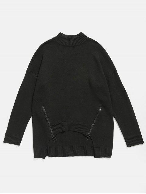 affordable Zipper Embellished High Low Hem Sweater - BLACK 4XL Mobile