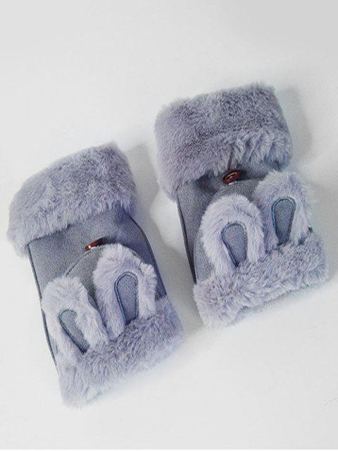 Gants d'Hiver Oreille de Lapin Décoratifs Sans Doigts - Ardoise bleue  Mobile