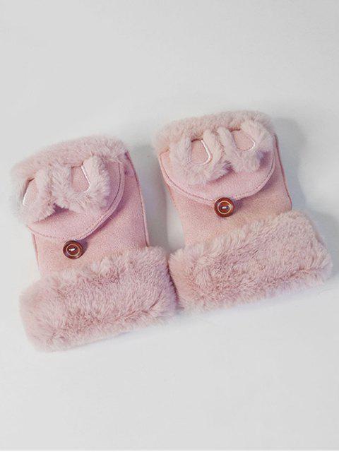 chic Winter Rabbie Ear Decorative Fingerless Gloves - LIGHT PINK  Mobile