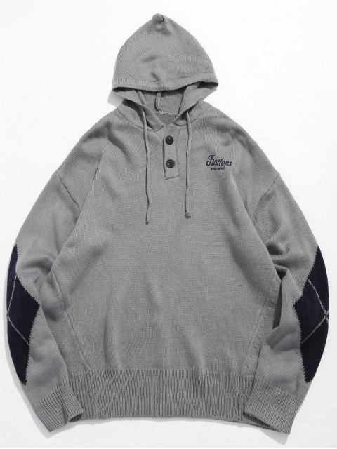 fancy Diamond Pattern Hooded Sweater - GRAY CLOUD L Mobile