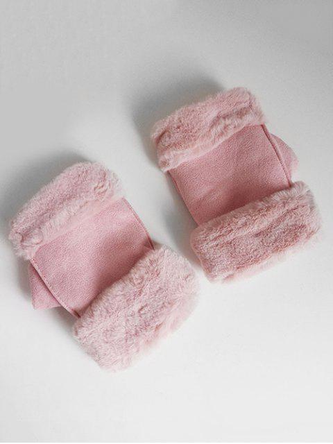 affordable Solid Color Fuzzy Winter Gloves - LIGHT PINK  Mobile