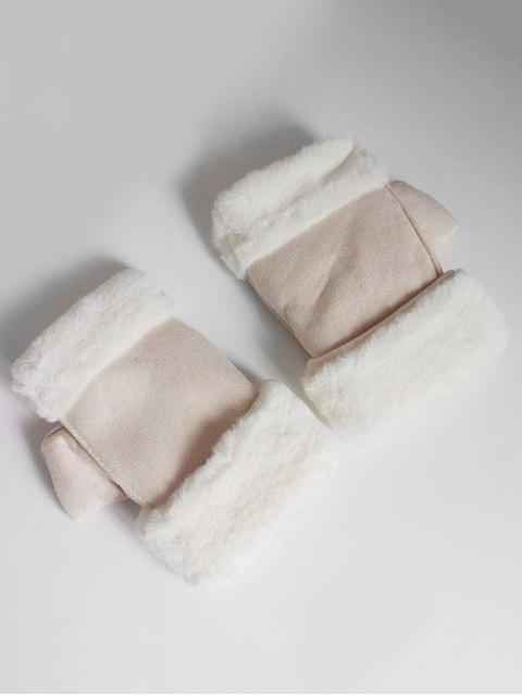 womens Solid Color Fuzzy Winter Gloves - BEIGE  Mobile