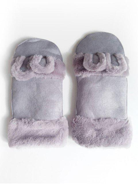 ladies Winter Solid Color Fuzzy Mitten Gloves - BLUE GRAY  Mobile