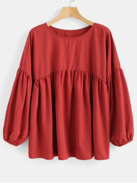 trendy Drop Shoulder Smock Blouse - CHERRY RED M Mobile