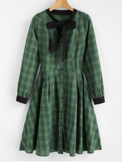 chic Plaid Bow Shirt Dress - MEDIUM FOREST GREEN M Mobile