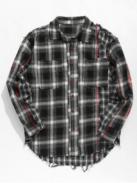 online Tassels Plaid Patchwork Shirt - BLACK L Mobile