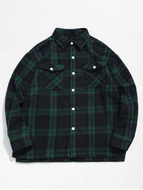 shops Plaid Side Split Shirt - SEA GREEN M Mobile