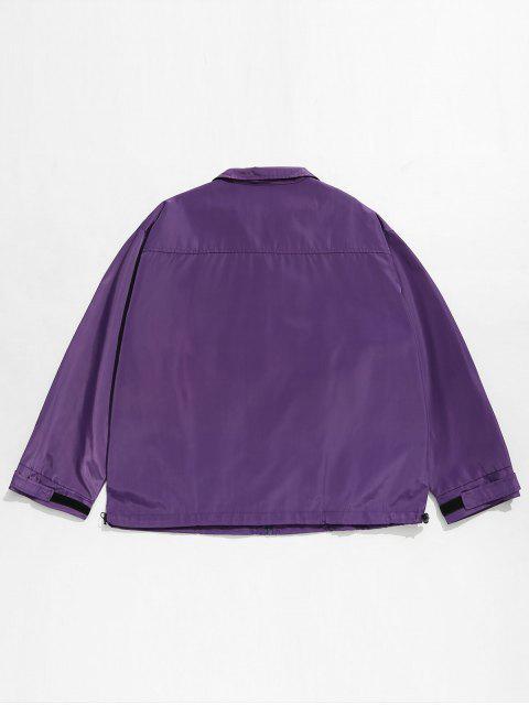 fashion Hidden Zipper Printed Windproof Jacket - PURPLE L Mobile