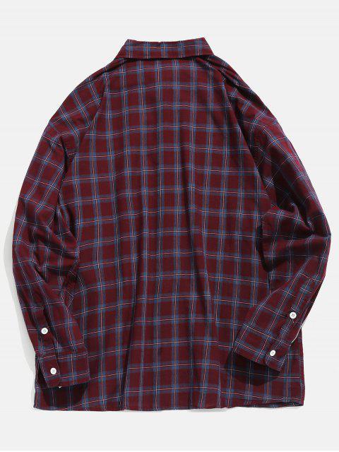 affordable Side Striped Chest Pocket Plaid Shirt - BURNT PINK XL Mobile