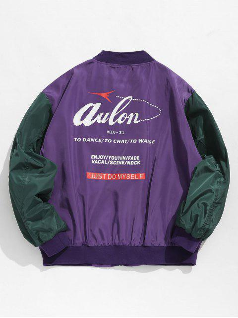 women Hit Color Zipper Embellished Jacket - PURPLE XL Mobile