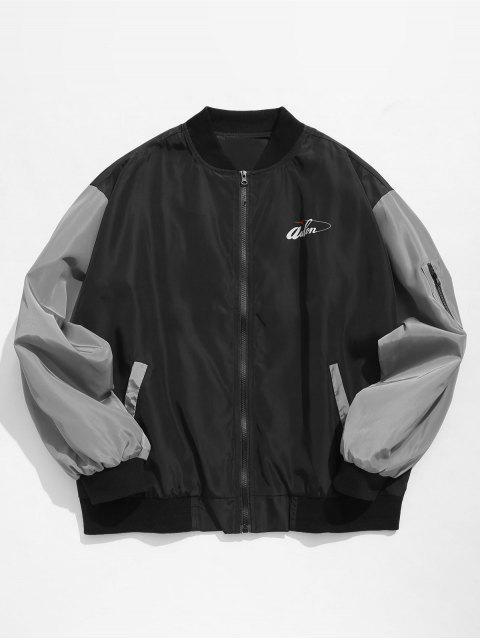 unique Hit Color Zipper Embellished Jacket - BLACK M Mobile