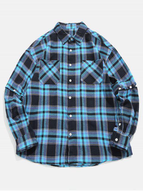 Camisa de manga convertible a cuadros - Azul Profundo M Mobile