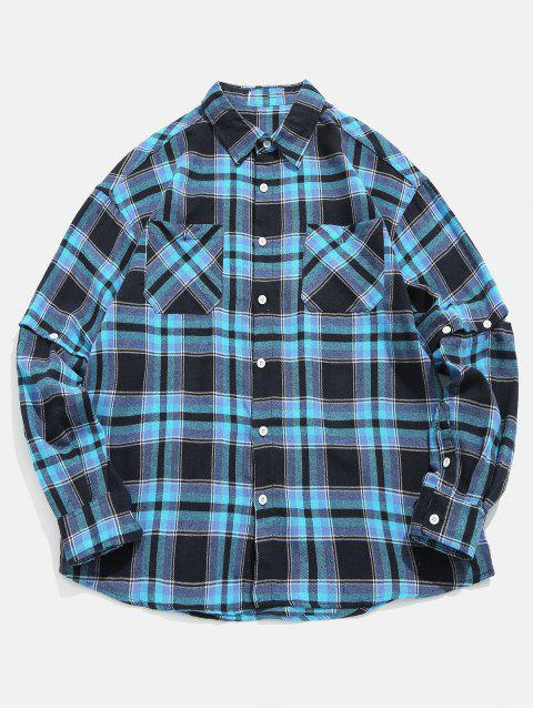 outfit Plaid Convertible Sleeve Shirt - DEEP BLUE L Mobile