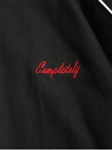 trendy Zip Up Letter Embroidery Cargo Jacket - BLACK 2XL Mobile