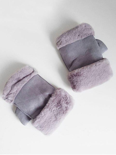 affordable Solid Color Fuzzy Winter Gloves - LIGHT SLATE GRAY  Mobile