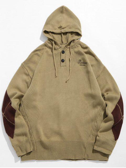 womens Diamond Pattern Hooded Sweater - KHAKI XL Mobile