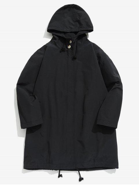 best Zip Up Hooded Trench Coat - BLACK XL Mobile