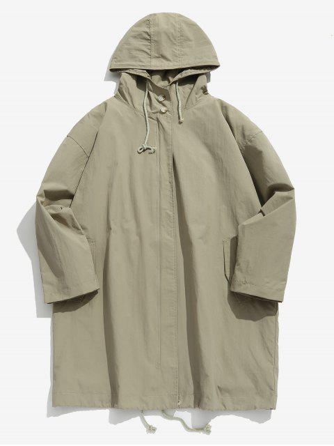new Zip Up Hooded Trench Coat - LIGHT KHAKI M Mobile