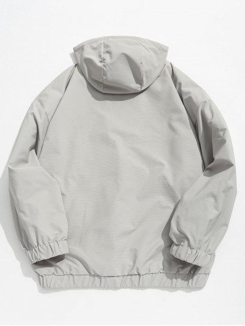 unique Half Zip Kangaroo Pocket Letter Hooded Jacket - GRAY XL Mobile