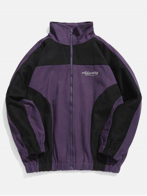 womens Raglan Sleeves Two Tone Letter Embroidery Jacket - PURPLE 2XL Mobile