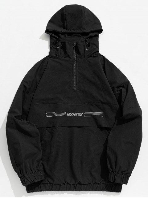 ladies Half Zip Kangaroo Pocket Letter Hooded Jacket - BLACK M Mobile