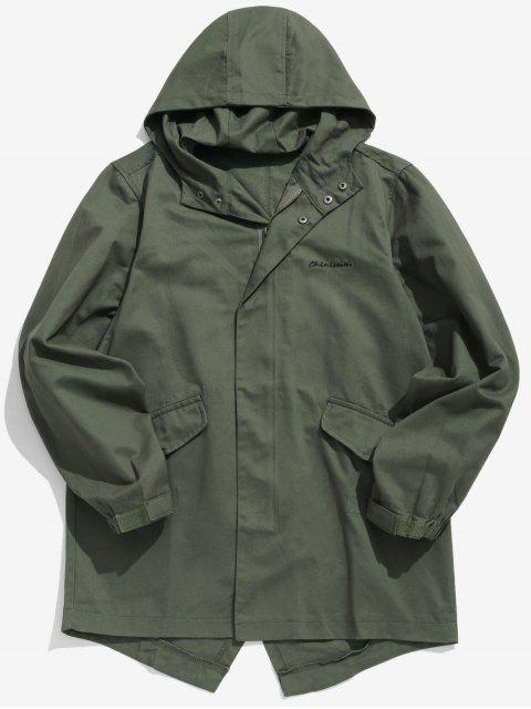 women High Low Hem Hooded Coat - ARMY GREEN 2XL Mobile