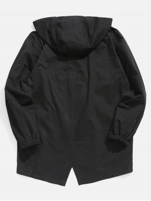 trendy High Low Hem Hooded Coat - BLACK 3XL Mobile