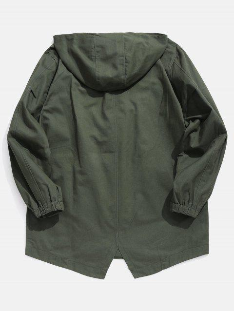 chic High Low Hem Hooded Coat - ARMY GREEN M Mobile