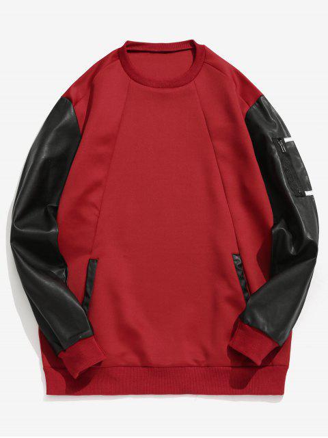 womens Color Block Zipper Pullover Sweatshirt - RED WINE M Mobile