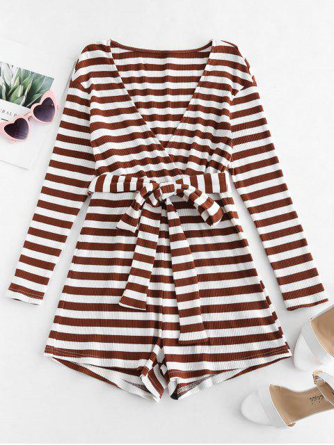sale ZAFUL Striped Belted Wide Leg Romper - DEEP BROWN XL Mobile