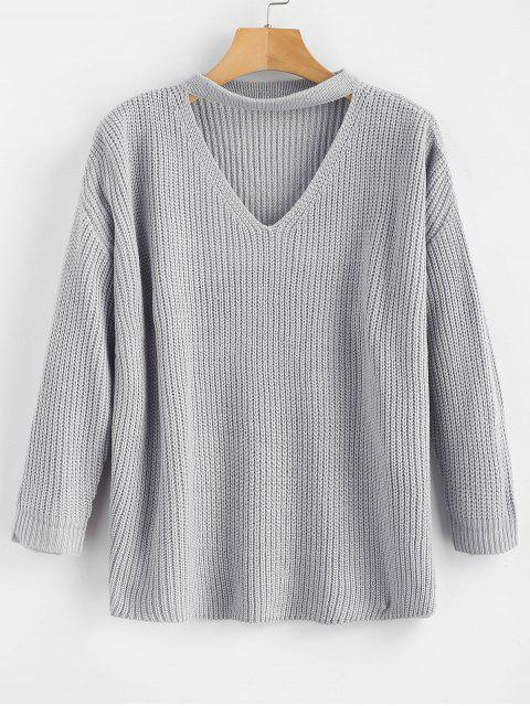 shops Chunky Knit Plain Keyhole Sweater - LIGHT GRAY ONE SIZE Mobile