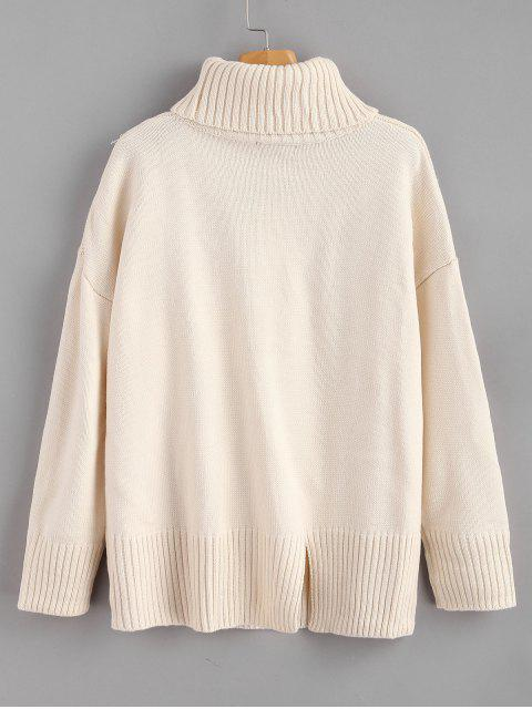 chic Loose Fit Slit Turtleneck Sweater - WARM WHITE ONE SIZE Mobile