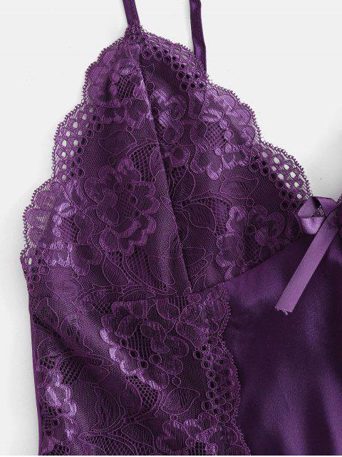ladies Satin Lace Insert Pajamas Set - PURPLE IRIS S Mobile