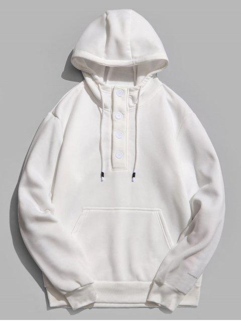 chic Buttons Embellished Fleece Hoodie - WHITE M Mobile