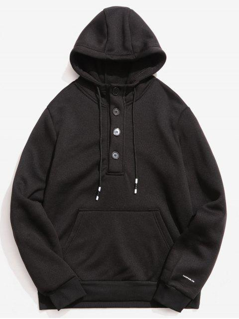 womens Buttons Embellished Fleece Hoodie - BLACK XS Mobile
